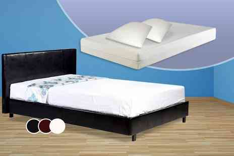 DIRECT FURNITURE SUPPLIERS - Pablo faux leather double bed, memory foam mattress and two pillows - Save 64%