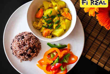 Fi Real - Vegan or Vegetarian Caribbean Main, Side or Dessert, and Drink for Two - Save 0%