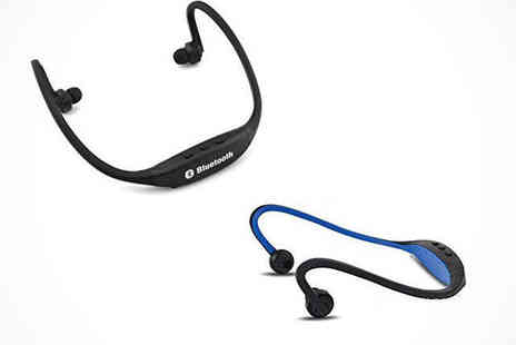 Bluetooth Headphones - Behind the Neck Bluetooth Headphones in Blue, Black, or Green, Delivery Included - Save 0%