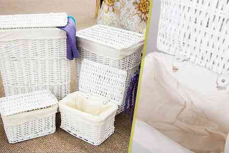 Kings Bathroom - Four matching wicker storage and laundry baskets in brown or white - Save 48%