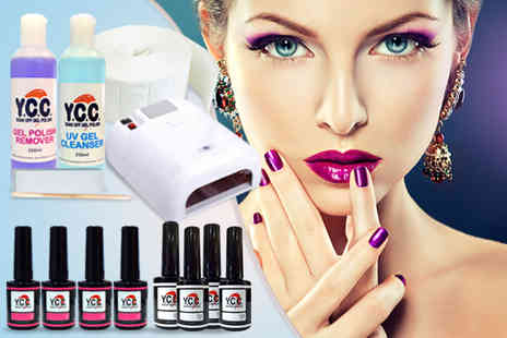 Millennium Nails - 14 piece hybrid gel polish kit including polishes a UV lamp and more - Save 77%