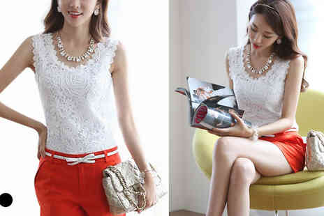 Fab Shopper - Sleeveless Crochet Shirt  - Save 77%