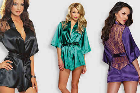 Risque Intentions - Sultry Lace Back Satin Robe - Save 74%