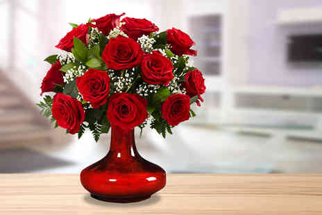 Posy Bouquets - Hand tied and gift wrapped red rose bouquet - Save 58%