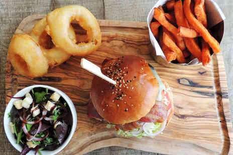 Reef & Beef - Burger with Choice of Topping, Fries, and Onion Rings for Two - Save 41%