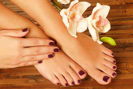 Coco Rouge Beauty Bar - Shellac manicure AND pedicure including soak, file and cuticle work  - Save 68%