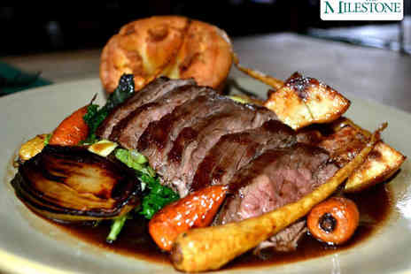 The Milestone - Two Course Sunday Lunch Including Starter, Main Course, and a Glass of Wine Each for Two  - Save 52%