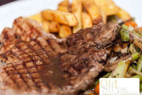 The Old Steps Bar and Bistro - Two Course 8oz Rump or Rib Eye Steak Meal for Two - Save 62%