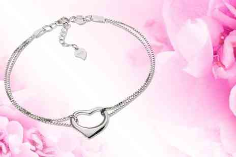 Jewel Unique - 18ct white gold plated open heart bracelet - Save 84%