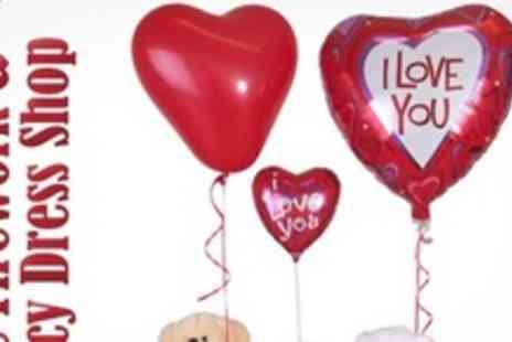 The Firework & Fancy Dress Shop - Valentines Gift Box Including Heart Balloon and Teddy Bear - Save 60%