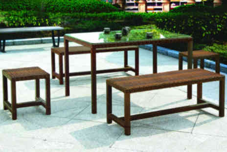 City Living Furniture - £299 for the Pomporovo rattan-style outdoor dining set worth £850 - Save 65%