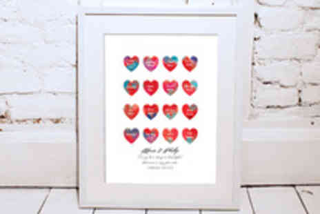 Treasure on the Wall - Personalised Framed Watercolour Love Hearts with Card - Save 55%