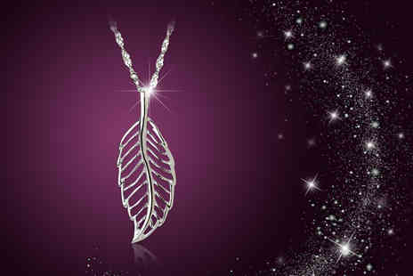 Jewel Unique - Long line white gold plated feather pendant necklace - Save 84%