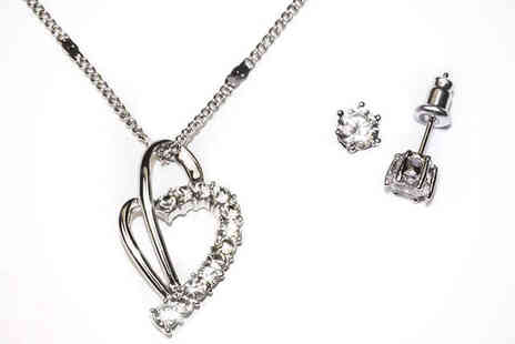 Aspire jewellery online  - Austrian Crystal Heart Pendant and Stud Earrings - Save 87%