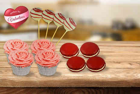 ButtercupCakes - 12 piece Valentine's Day gift box including 4 cupcakes, 4 macarons and 4 cake pops - Save 76%