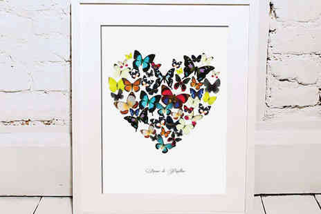 Treasure On The Wall - A4 Butterfly Love Heart Print - Save 56%