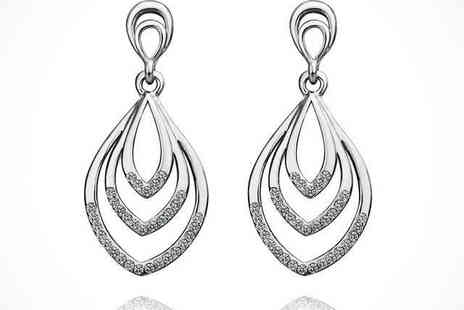 Crystal Leaf Drop Earrings  - Crystal Leaf Drop Earrings in Rose, Yellow, or White Gold, Delivery Included - Save 79%