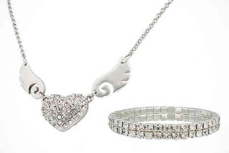 lsuk your ideal gift  - Wing Heart Pendant and Tennis Bracelet, Delivery Included - Save 86%