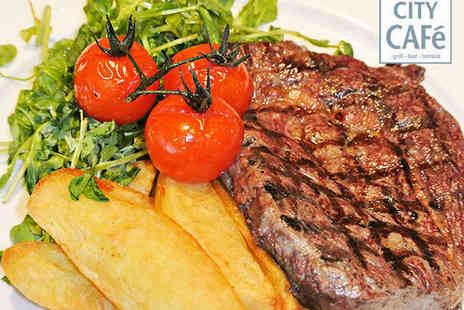 City Cafe Bar and Grill - Starter and Steak Main Course for Two with Glass of Wine Each - Save 51%