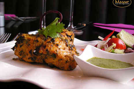 Mayur - Starter and Main Course with Rice or Naan for Two with a Glass of Wine Each - Save 53%
