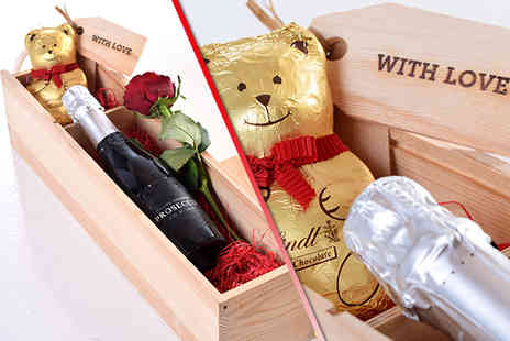 Nostalgic Campers -  Valentines hamper containing Prosecco, a Lindt chocolate bear and red rose  - Save 52%