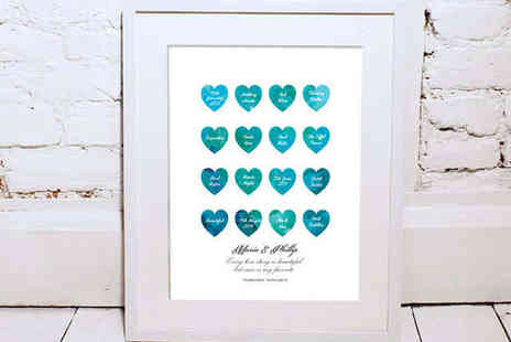 at the walls - Personalised Watercolour Love Heart Print with Valentine's Card - Save 60%