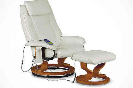 Fishooms - Reclining Massaging Chair with Footstool in Black, Brown, or Cream - Save 52%