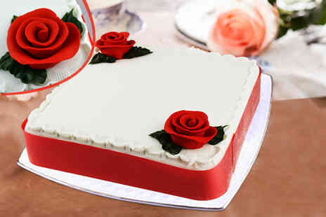 Cake Create - Nine inch personalised red velvet, chocolate or vanilla square cake - Save 78%