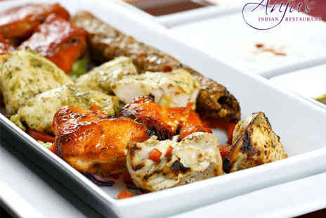 Anjus Indian Restaurant  - Starter, Main Course, and Glass of Wine Each for Two  - Save 53%