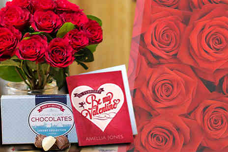 iFlorist - Shower a loved one with the Valentines Day Roses, Chocolates and Personalised Card - Save 50%