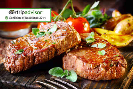 The Coffee House - Steak dinner for Two including a glass of wine each - Save 49%