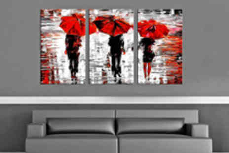 Red Art - Three Panel Canvas Art Print in a Choice of Designs - Save 56%