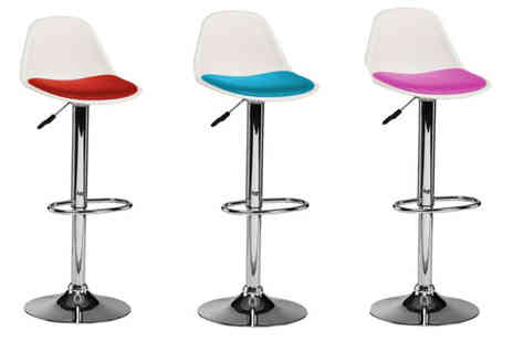 Premier Housewares - 2x Chrome and Leather Effect Bar Chairs - Save 38%
