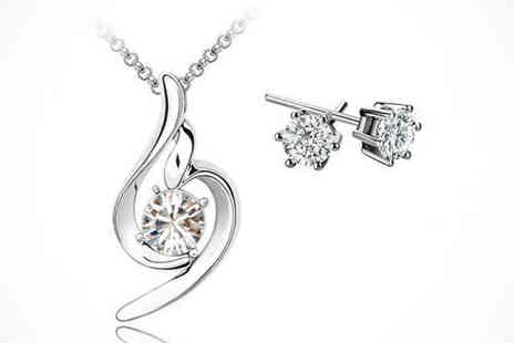 Your Ideal Gift Store  - Swirl Pendant and Earrings Set Made with Swarovski Elements, Delivery Included - Save 88%
