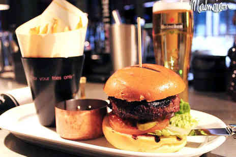 Malmaison - Burger and Fries for Two with a Glass of Wine or a Beer Each - Save 53%