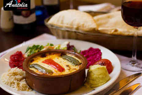 Anatolia Chargrill - Starter and Main Course for Two  with a Glass of Wine or Bubbly Each - Save 58%