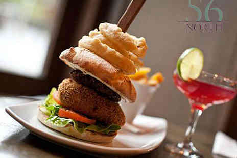 56 North - Burger and Bellini Cocktail Each for Two - Save 66%