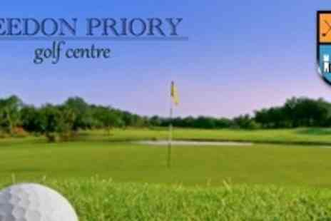 Breedon Priory Golf Centre - Day Ticket for Golf For Four With Food, Beer and Trolley Hire - Save 65%