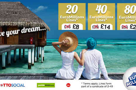 Lottosocial -  40 EuroMillions syndicated entries per draw - Save 0%