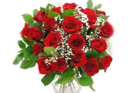 KAD distribution - 12 Red Roses with Gypsophilia and Green Foliage with Standard Delivery With Free Delivery - Save 0%