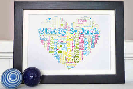 Pictures Direct - Framed and Personalised Word Art Love Heart or Teddy Bear Print - Save 51%