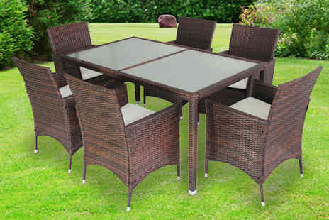 EVRE - Six Seater Rattan Garden Table Set - Save 65%