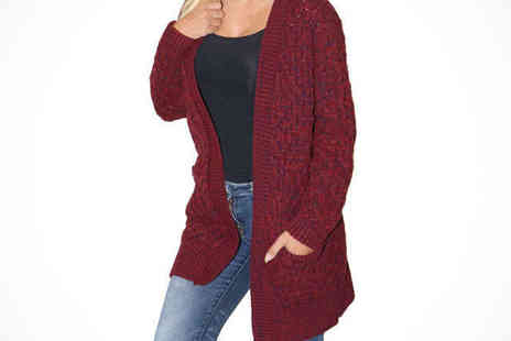 Essence Fashion - Womens Cable Knit Cardigan in Beige, Black, Grey, or Wine - Save 78%