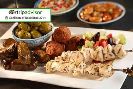 Chamisse - Lebanese meal for 2 including a mezze platter, main and glass of house wine each  - Save 57%