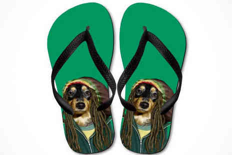 Printed Wardrobe - Pets Rock Unisex Flip Flops in a Choice of 70 Designs - Save 33%