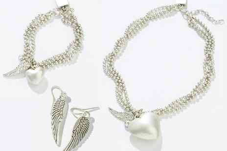 Pink Broccoli Apparel - Heart, Angel Wing & Feather Jewellery Tri Set - Save 25%