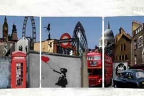 Canvas Town - Banksy Panoramic Triple Canvas Print - Save 65%