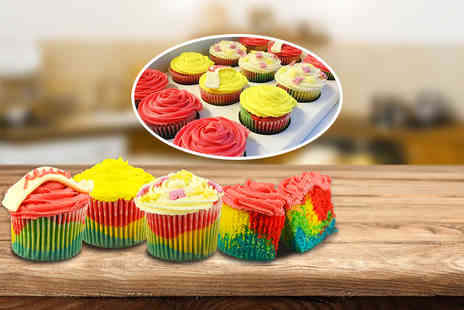 Heavenly Rainbow Cupcakes - 12 Mothers Day cupcakes - Save 71%
