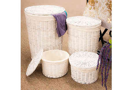 Kings Bathrooms - Set Of 4 White Wicker Laundry Baskets - Save 50%