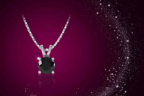 Rocks of London - Black diamond and white gold solitaire necklace - Save 56%